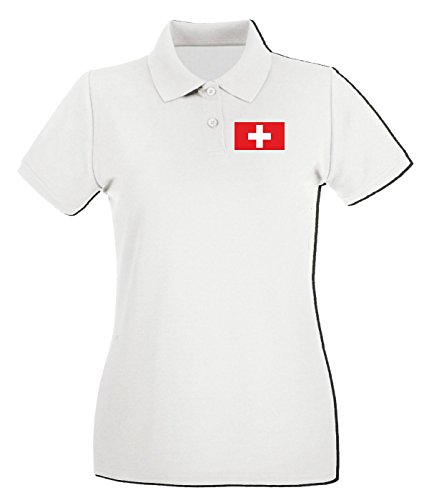 T-Shirtshock - Polo pour femme TM0248 Switzerland flag Blanc