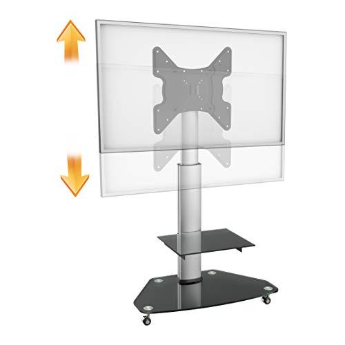 RICOO TV Ständer FS0200 Universal für ca. 30-70 Zoll (76-178cm) Auf Rollen Höhenverstellbar Neigbar | Standfuß Fernsehständer Rollbar Mobil | VESA 200x100 400x400 | Silber mit Glas-Regal in Schwarz -