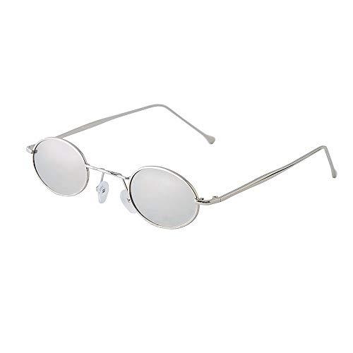☀ Gafas de sol de Marco Elipse de metal Gafas de sol de círculo vintage para hombre y mujer con protección UV400 para Deportes al Aire Libre Ciclismo Pesca Golf-URIBAKY