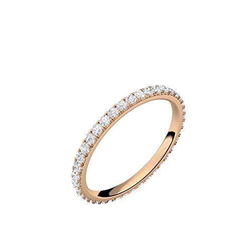 Ring Rosegold von AMOONIC mit Zirkonia Verlobungsringe (Silber 925 hochwertig vergoldet) Memoryring Vorsteckring Zirkonia Stein Damenring Damen Heiratsantrag Memory Memoire FF589VGRSZIFA50