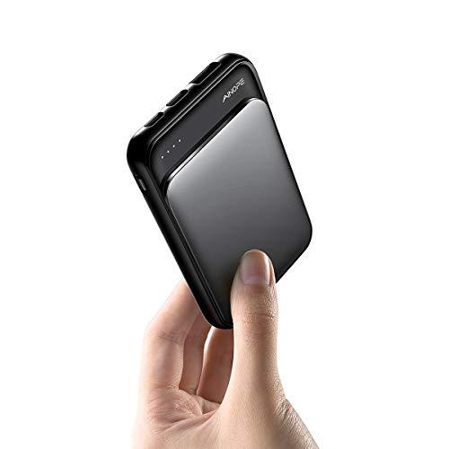 AINOPE Slim PowerBank 5000mAh Tragbar Handy Tragbares Ladegerät mit 2A USB Ausgänge Externer Akku mit USB-C- und Micro-USB Eingänge Ausgängen für iPhone, iPad, Samsung und Viele Mehr(Schwarz)