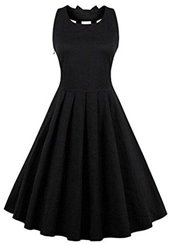 Brinny Robe de soirée/Cocktail Courte Licou Rétro Vintage année 1950 sans Manches , Style Audrey Hepburn Rockabilly Swing Noir