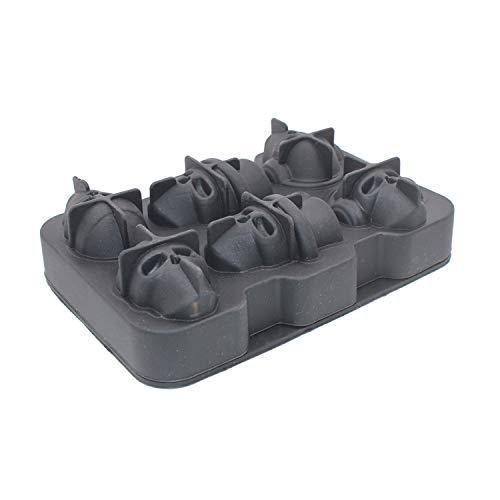 Unbekannt Lebensmittelqualität 6 Gitter 3D Shantou Eiswürfelschale Schimmel Tablett Halloween Schädelförmig Rotwein, Whiskey Eiswürfel Tablett, schwarz