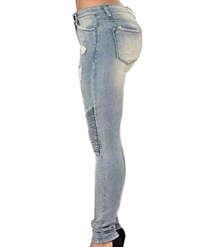 Auxo Damen Hohe Taille Dünne Skinny Bleistift Elastisch Slim Lang Pants Hosen Grau4