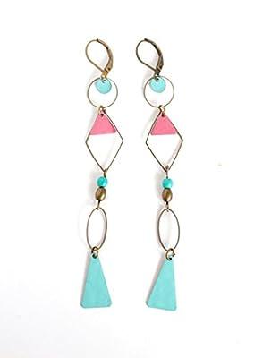 longues Boucles d'oreilles pendantes, Triangle, anneaux, vieux rose et bleu tendre, bohême chic