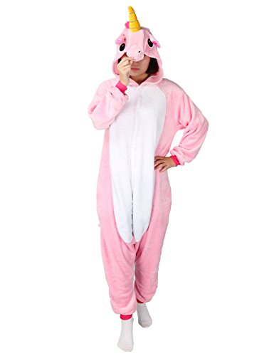 LATH.PIN Tier Pyjama Einhorn Kostüm Karton Tierkostüme Halloween Kostüme Jumpsuit Erwachsene Schlafanzug Unisex Cosplay- Gr, L(Höhe162-175CM), Rosa Pferd