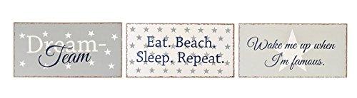 levandeo 3er Set Blech-Schilder - Metallschild Träume Dreams Beach Eat Wandschild Wandbild Sterne je 40x20cm Wandobjekt Shabby Chic rostig Wandobjekt
