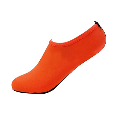 Malloom Unisex Strandschuhe Aquaschuhe Breathable Schlüpfen Schnell Trocknend Schwimmschuhe Surfschuhe für Damen Herren Kinder Baby Orange