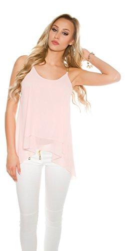 Damen Bluse Ciffon T-Shirt Top Oberteil Hemd Träger Ärmellos Schulterfrei Cold Shoulder 34 36 38 Lachs Rosa