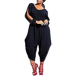 Femme Combinaisons Grande Taille Chic - Sunenjoy Jumpsuit Col V Playsuit Manches Longues Évider Bodysuit Pantalon Jambe Large Sarouel Loose Fête Soirée Cocktail Plage (2XL, Noir)