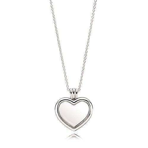 Pandora Damen Halskette Herz Medaillon Silber/Weiß 60cm (Medaillon Damen)