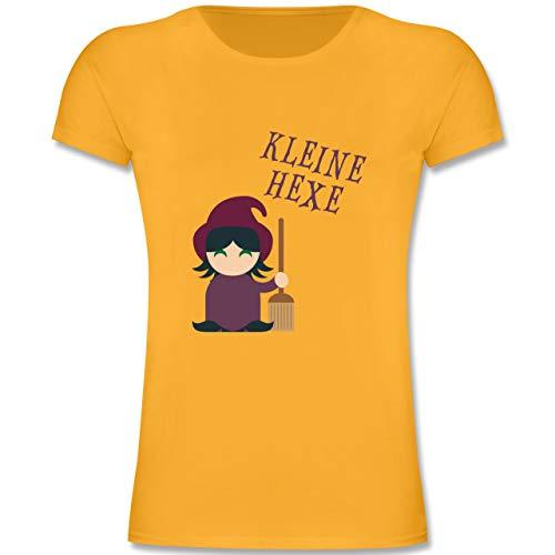 Anlässe Kinder - Kleine Hexe süß - 116 (5-6 Jahre) - Gelb - F131K - Mädchen Kinder T-Shirt