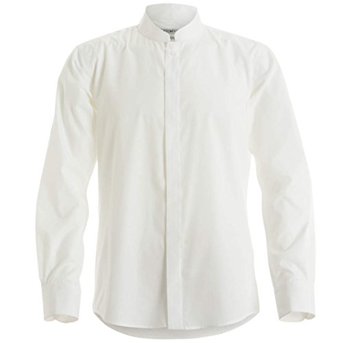 Kustom Kit - Camisa entallada de manga larga con cuello chino / mao Hombre Caballero - Trabajo/Fiesta/Verano (Extra Grande (XL)/Blanco)