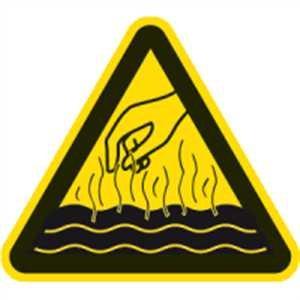 Aufkleber Warnung vor heißen Flüssigkeiten und Dämpfen Folie 10cm SL (Heiße Flüssigkeiten)