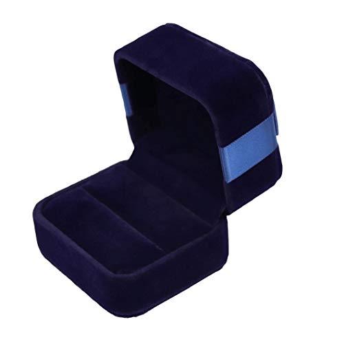 Premium hohe quadratische lang-Pile-Velvet Ring Box/Geschenkbox - Mit Schleife aus Band/Marineblau