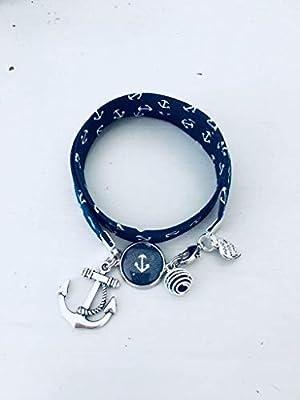 Bracelet Liberty, Bracelet en tissu Liberty bleu marine avec ancres, bijou ancre, bracelet en tissu liberty, idée cadeau, bracelet parfum, bijou, bracelet