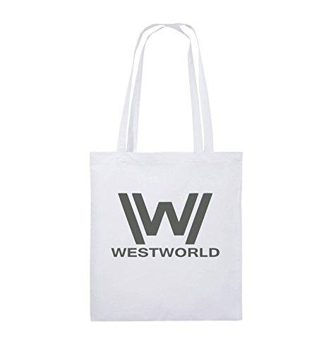 Comedy Bags - WESTWORLD - LOGO - Jutebeutel - lange Henkel - 38x42cm - Farbe: Schwarz / Silber Weiss / Grau