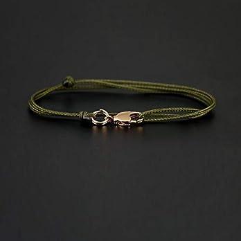 Dezentes Armband für Herren – edles Wickelarmband für Männer Minimalistisch – stufenlos verstellbar mit Karabiner-Haken Gold (Grün)