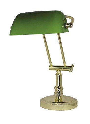 Edle Alt Britische Banker Lampe, Bankerslampe, Messing, grüner Glasschirm