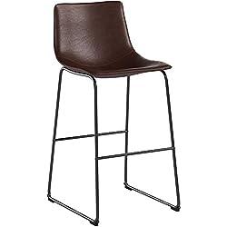 RFIVER Chaise de Bar Bistrot de Style Industriel Vintage Tabouret avec Siège Haut et Dossier en Cuir PU et Repose-Pieds Confortable pour Cuisine Bar Salon Lot de 2 Brun BS1004