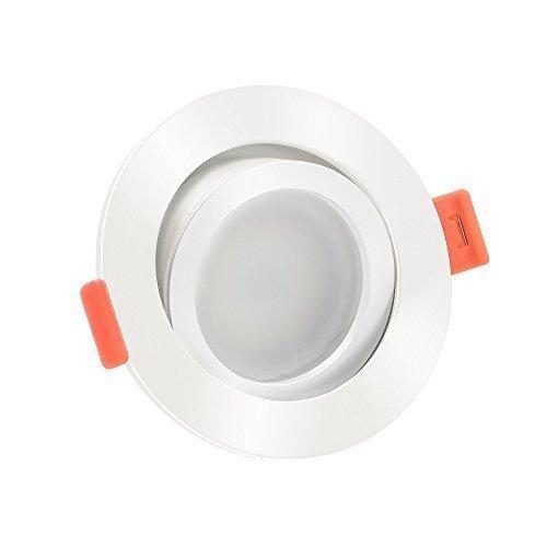 1x ultra flache 25mm LED Einbaustrahler   Dimmbare Lichtfarbe 1800-3000K & CRI 95   7W statt 50W   230V   weißes Aluminium   1er Set 120° Milchglas