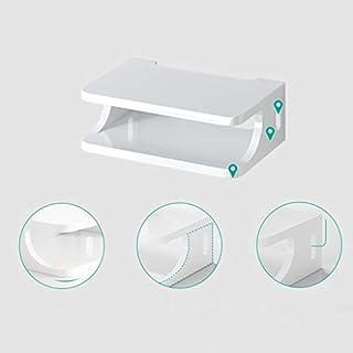 YANQ Floating Shelf für TV-Komponenten, Metallwandmontierte Medienkonsole, 2-stufig, für Kabelboxen/Router/Fernbedienungen/DVD-Player/Spielekonsolen (Farbe : Weiß)