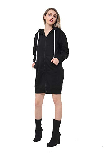 Women Girls Long Cardigan Hoodie Ladies Hooded Sweatshirt Jumper Fleece Top Cardigan Coat