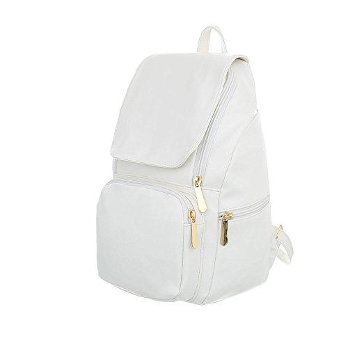 iTal-dEsiGn Damentasche Kleine Rucksack Freizeittasche Kunstleder TA-6602 Weiß