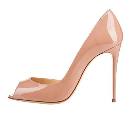 EKS Damen Peep Toe Stilett Schuhe Pumps High Heels Nackt