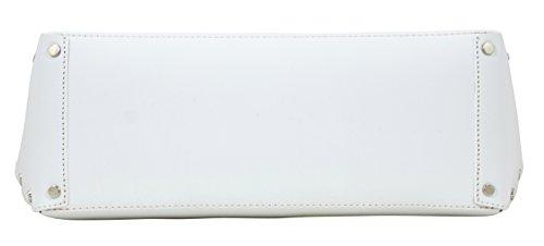 TAMARA Shopper Borse Donna Borse Tote Vera Pelle Made in Italy Lavorazione Artigianale Bianco