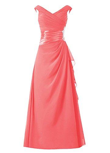 Dresstells Damen Abendkleider Bodenlang Homecoming Kleider Promi-Kleider Koralle