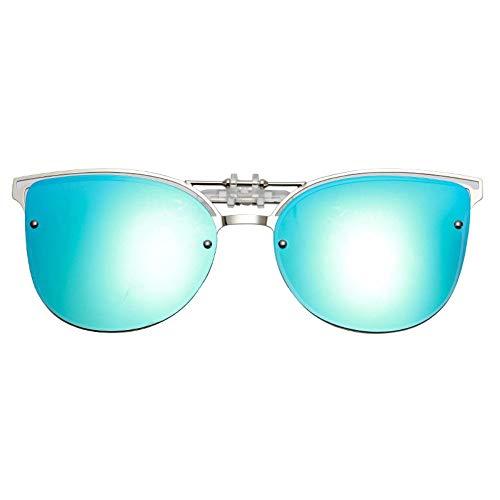 Sonnenbrille,Cat Eye Sonnenbrille Clip Auf Frauen Männer Polarisierte Spiegel Objektiv Uv 400 Sonnenbrille Clip Brillen Designer Für Blau