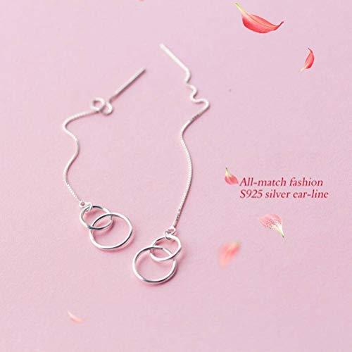 BinLZ-earings S925 Silber Ohr Draht Weibliche Einfache Größe Ring Verriegelung Doppelring Ohr Draht Geometrische Linie Lange Ohrringe, S925 Silber Ohrhaken (Verriegelung Draht)