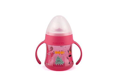 Biberón Suavinex con asas antiderrame 150 ml, con vaso color rosa