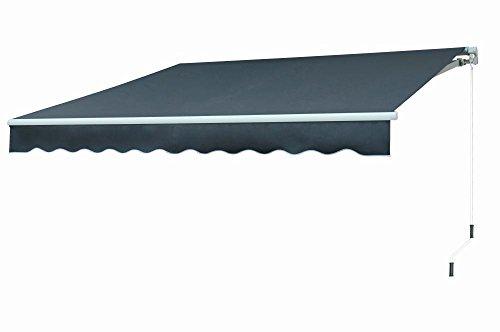 TrendLine Gelenkarm-Markise Dark Grey ca. 300 x 250 cm, Kurbel rechts
