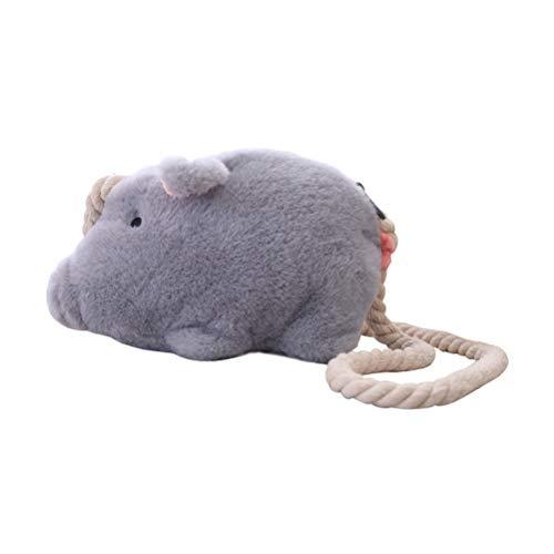 Kleines Schwein Spielzeug Tasche Plüsch Schwein Puppe Umhängetasche kleine niedliche Schwein gefüllt Spielzeug Geldbörse Brieftasche (grau) (Schwein Spielzeug Gefüllte)