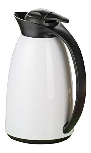 Esmeyer Isolierkanne Loft 1l mit Glaseinsatz in weiß/schwarz, Glas, 14.5 x 14.5 x 27.5 cm