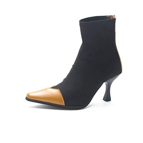 Frauen Sexy Spitz Stiefeletten Sexy Kätzchen Ferse Kleid Schuhe Weiche Elastische Stiletto Kurze Stiefel