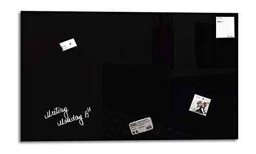 Glas Expert | Smart Glass Board ® | Glas Whiteboard | 100 x 60 cm | Schwarz | Magnettafel | Memoboard | Magnetwand | + 3 Magnete + 1 Marker
