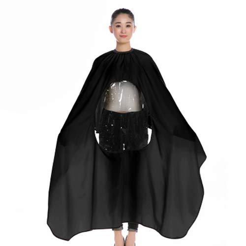RACAPE Salon Professionelle Haar Styling Cape Friseur Große Erwachsene Wasserdichte Kleid Wrap Schützen Haar Schneiden Schürze Mit Transparenten Zone,Black -