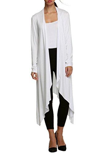 Meaneor Femme Cardigan Ouvert Longue Manteau Gilet Top Asymétrique Manche Longue Blanc