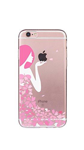 Case Cover Per iphone 6/6S Plus 5.5 pollici Trasparente TPU Gel Silicone Bumper Protettivo Skin Custodia Ultra-sottile Flessibile morbido Protettiva Shell(Fiore di prugne) ragazza 2
