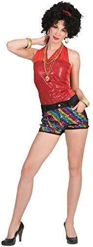 Damen 60s Jahre 70s Jahre 80s Jahre Rainbow Paillette Disco Diva Shorts Karneval Pride Mardi-Gras Kostüm Kleid Outfit UK ()