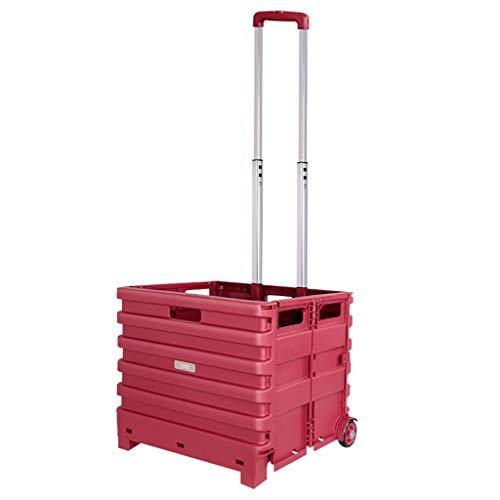 Carrello piegante del quadrato rosso con 2 cuscinetti di ruota, peso leggero Valigia pieghevole della cassa di mano di capacità di 66 libbre, maniglia telescopica pieghevole del carrello multifunziona