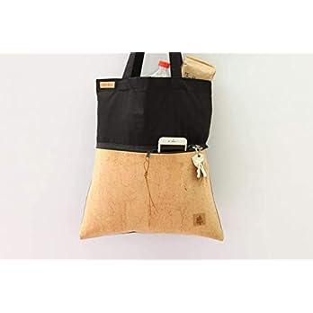 Shopper aus Baumwolle in SCHWARZ mit einer Reißverschluss-Außentasche aus Kork-Leder in SAND