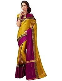Rajeshwar Fashion Women's Cotton Silk Saree (AANGI GOLD NEW_Gold)