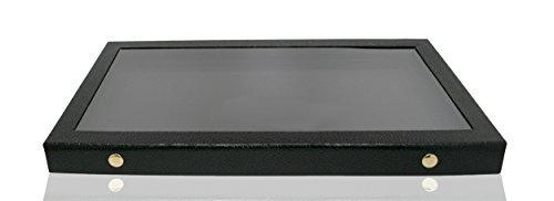 Novel Box Glas Top Schmuck Ring/Gem Jar Display Fall, Black Acrylic Top, Large (Buttons): 14.75X8.25X1.15 (Glas Top Gem Box)