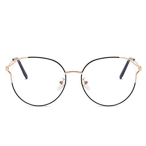 Zebuakuade Metall Retro Cat Eye Brillengestell Nicht verschreibungspflichtige Brille Männer Frauen (Color : Black-Gold)