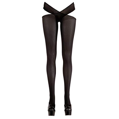 Cottelli Collection Stockings & Hosiery - sexy Strümpfe mit Taillenhalter für sie, verführerische Strümpfe mit offenem Schritt, ouvert, schwarz