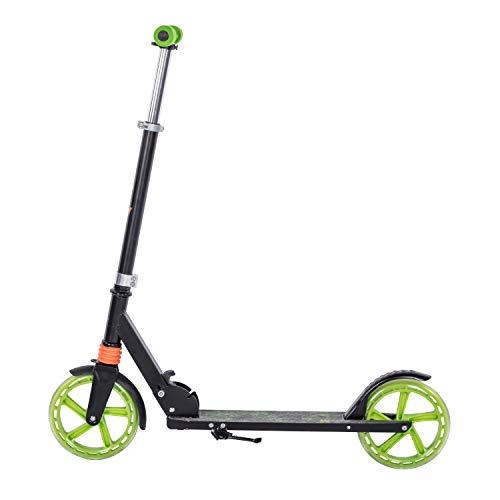 Clamaro \'Sidekick\' 205mm Cityroller Tretroller gefedert, bis 100 kg belastbar, zusammenklappbar, höhenverstellbar, Scooter Kickroller mit Reibungsbremse, für Kinder und Erwachsene, Schwarz/Grün